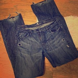 7 For All Mankind Distressed Boot-cut Jeans